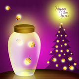 Happy new Year. Illustration of fireflies at Christmas Stock Photo