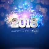 Happy New Year 2018 Illustration with Firework and 3d Text on Shiny Blue Background. Vector EPS 10. Happy New Year 2018 Illustration with Firework and 3d Text Royalty Free Stock Photo