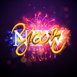Happy New Year 2018 Illustration with Firework and 3d Text on Shiny Blue Background. Vector EPS 10. Royalty Free Stock Photography