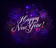 Happy New Year illustration with Fireworks Blue Background. Vector Holiday Design for Premium Greeting Card, Party Invitation royalty free illustration