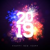 2019 Happy New Year illustration with fireworks and number on dark background. Holiday design for flyer, greeting card. Banner, celebration poster, party stock illustration