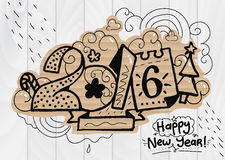 Happy New Year illustration, 2016 font. Hand drawn. Letters for your design, print, greeting cards, etc Royalty Free Stock Images