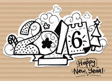 Happy New Year illustration, 2016 font on. Happy New Year illustration, 2016 font. Hand drawn letters for your design, print, greeting cards, etc Stock Photo