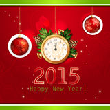 Happy New Year illustration with gold clock Royalty Free Stock Image