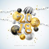 2018 Happy New Year Illustration with Gold 3d Number, Light Garland and Ornamental Ball on White Background. Vector. Holiday Design for Premium Greeting Card Royalty Free Stock Image