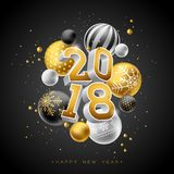 Happy New Year 2018 Illustration with Gold 3d Number and Ornamental Ball on Black Background. Vector Holiday Design for. Premium Greeting Card, Party Invitation Vector Illustration