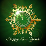 Happy New Year illustration with Golden snowflake shaped clock Royalty Free Stock Images