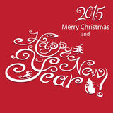 Happy New Year 2015 - Illustration. Happy new year greeting with number. Vector illustration royalty free illustration