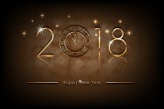 Happy New 2018 Year illustration. Greetings New Year background banner with gold clock. Colorful bronze Winter. Background. Vector EPS 10 Stock Photo