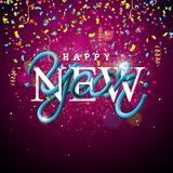 Happy New Year Illustration with Intertwined Tube Typography Design and Colorful Confetti on Shiny Background. Vector. Holiday EPS 10 design Royalty Free Stock Photography