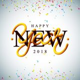 Happy New Year 2018 Illustration with Intertwined Tube Typography Design and Colorful Confetti on White Background. Vector Holiday EPS 10 design Stock Image