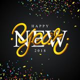 Happy New Year 2018 Illustration with Intertwined Tube Typography Design. And Colorful Confetti on Black Background. Vector Holiday EPS 10 design Stock Photography