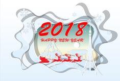 Happy New Year 2018 .Illustration of Japan Landmarks ,paper art Royalty Free Stock Photography