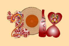 Happy New Year 2018. Illustration of a log with a bottle of heart and a dog symbol. Happy New Year 2018, the text, design. Vector greeting. Illustration of a Stock Image