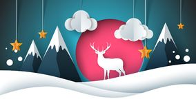 Happy New Year illustration. Merry Christmas. Deer, sun, cloud, star winter. Vector eps 10 royalty free illustration