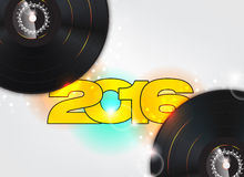 Happy new year 2016. Illustration with music background vector illustration