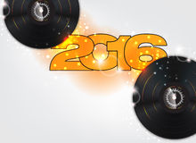Happy new year 2016. Illustration with music background stock illustration