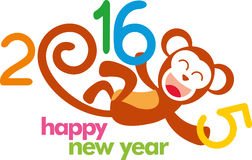 2016 happy new year illustration poster. Happy new year 2016 design illustration, year of monkey. Ideal for web, greeting card and print poster royalty free illustration