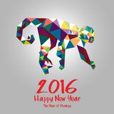 2016 happy new year illustration poster. Year of Monkey. Happy New Year 2016. Vector Illustration Design Monkey stylized triangle polygonal model. Concepts Web Vector Illustration