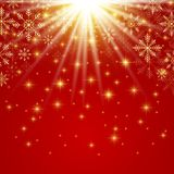 Happy New Year illustration. Red background with golden snowflakes.  Stock Image