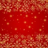 Happy New Year illustration. Red background with golden snowflakes.  Stock Photo
