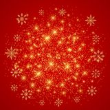 Happy New Year illustration. Red background with white snowflakes.  stock illustration