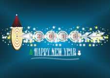 Happy new year. Illustration of Happy new year text and arrow on dark blue background royalty free illustration