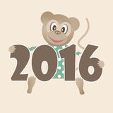 Happy new year 2016 illustration with toy monkey background Royalty Free Stock Photo