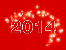 Happy new year 2014. Illustration of a trail of shooting stars on a red background royalty free illustration