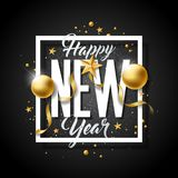 Happy New Year Illustration with Typography Letter and Ornamental Ball on Black Background. Vector Holiday Design for Stock Image
