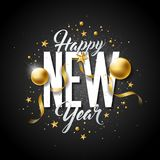 Happy New Year Illustration with Typography Letter and Ornamental Ball Royalty Free Stock Photography
