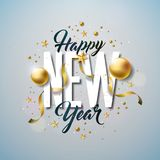 Happy New Year Illustration with Typography Letter and Ornamental Ball on White Background. Vector Holiday Design for Royalty Free Stock Images