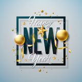 Happy New Year Illustration with Typography Letter and Ornamental Ball on White Background. Vector Holiday Design for Royalty Free Stock Photos