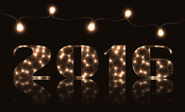 Happy new year illustration. Happy new year vector illustration with light bulbs royalty free illustration