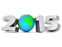 Happy new year 2015 Illustrations 3d. On a white background Royalty Free Stock Photos