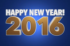 Happy New Year! 2016. Image of the text Happy New Year! 2016 with gold and white letters with a blue background Stock Image
