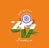 Happy new year 2017 with India Flag Pattern Text. Vector Design Background Royalty Free Stock Photo