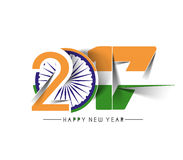 Happy new year 2017 with India Flag Pattern Text. Vector Design Background Stock Photos