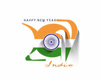 Happy new year 2017 with India Flag Pattern. Text Vector Design Background Royalty Free Stock Photography