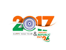 Happy new year 2017 with  Indian Republic day concept Stock Photo