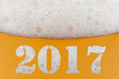 Happy New Year 2017. Inscription on a beer