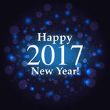 Happy new year inscription on firework background. Happy new year inscription on blue firework background Stock Images