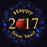Happy new year inscription on firework background. Congratulations happy new year on firework background Royalty Free Stock Photos