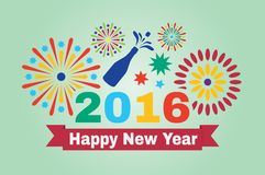 Happy New Year 2016. Inscription and fireworks in vector illustration Royalty Free Illustration