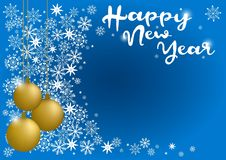 Happy new year inscription on a gold christmas ball. Greeting card design template with 3D typography label Royalty Free Stock Photo