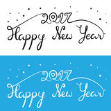 Happy New Year 2017 inscription. Hand drawn lettering with curve. S. Calligraphy script on blue and white backgrounds for your greeting card Royalty Free Stock Photo