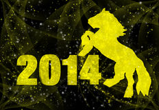 Happy New Year. New 2014 Year inscription and a horse on a black background Stock Illustration