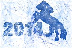 Happy New Year. New 2014 Year inscription and a horse on a white background Royalty Free Illustration