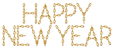 Happy new year inscription with the letters made from golden chain Royalty Free Stock Images