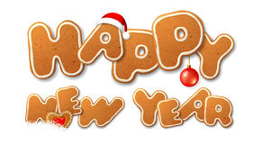 Happy New Year inscription, letters shape of gingerbread Royalty Free Stock Photography